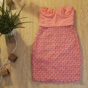Alice + Olivia silk and tweed strapless mini dress